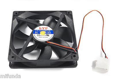 VENTILADOR PARA CAJA DE PC UNIVERSAL DE 12x12x2.5cm NEGRO 12V PC BOX FAN COOLER