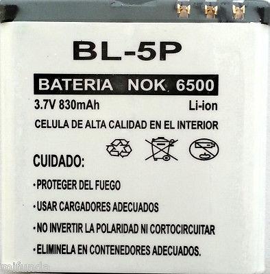 BATERIA PARA NOKIA 6500 BL-5P 830 mAh 3.7V LITIO ION BATTERY