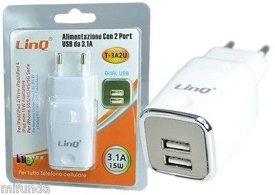 CARGADOR DE RED DE 2 USB 2.1A+1.0A=3.1A/15W AC110-240V/DC5V 3.1A TRAVEL CHARGER