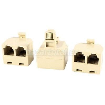 3x CONECTOR DUPLICADOR SPLITTER TELEFONO 1 RJ11 MACHO/MALE A /TO 2 RJ11 FEMALE