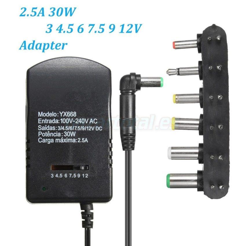 ALIMENTADOR UNIVERSAL DE RED 6 PIN+USB PARA 3/4.5/6/7.5/9/12V 30W POWER SUPPLY