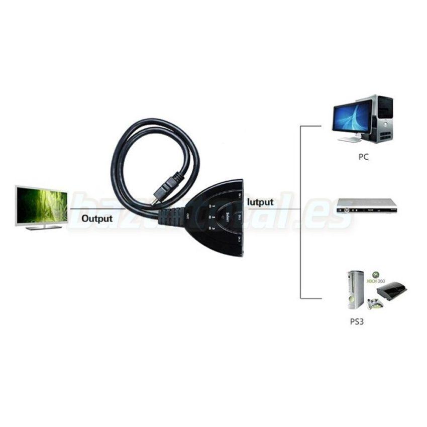 ADAPTADOR MULTI PUERTO CONECTOR HDMI SWITCH DE 3 PUERTOS CON CABLE DE 46 cm. 5