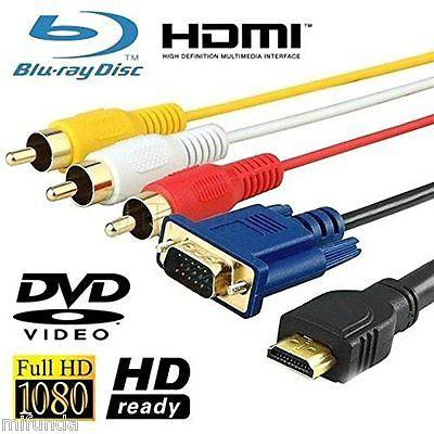 CABLE VGA 15 PIN MACHO/MALE A/TO HDMI MACHO/MALE+3 RCA AV MACHO/MALE DE 1,5 m.